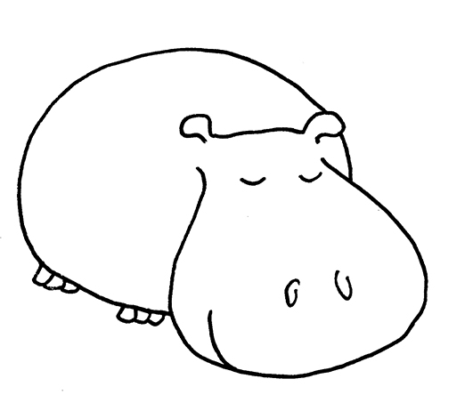 Hippo clipart hippo head. Simple pencil and in