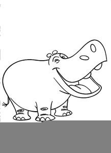 Hippo clipart vector. Black and white free