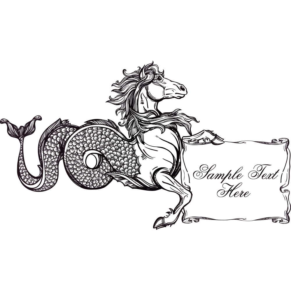 Hippocampus drawing. Horse kelpie monster tail
