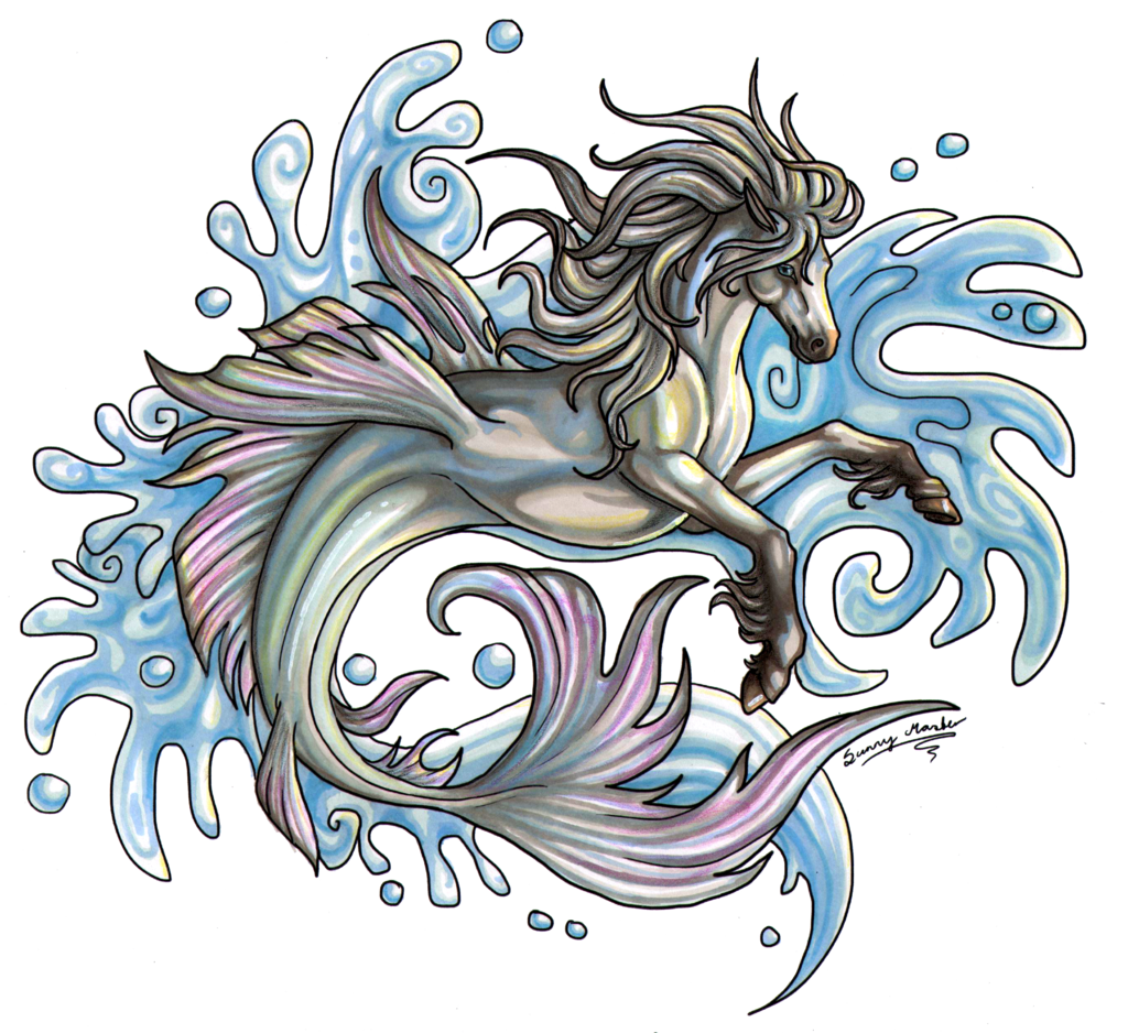 Hippocampus drawing. Images for mythology tattoo