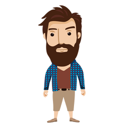 Hipster transparent animated. Man beard and moustache