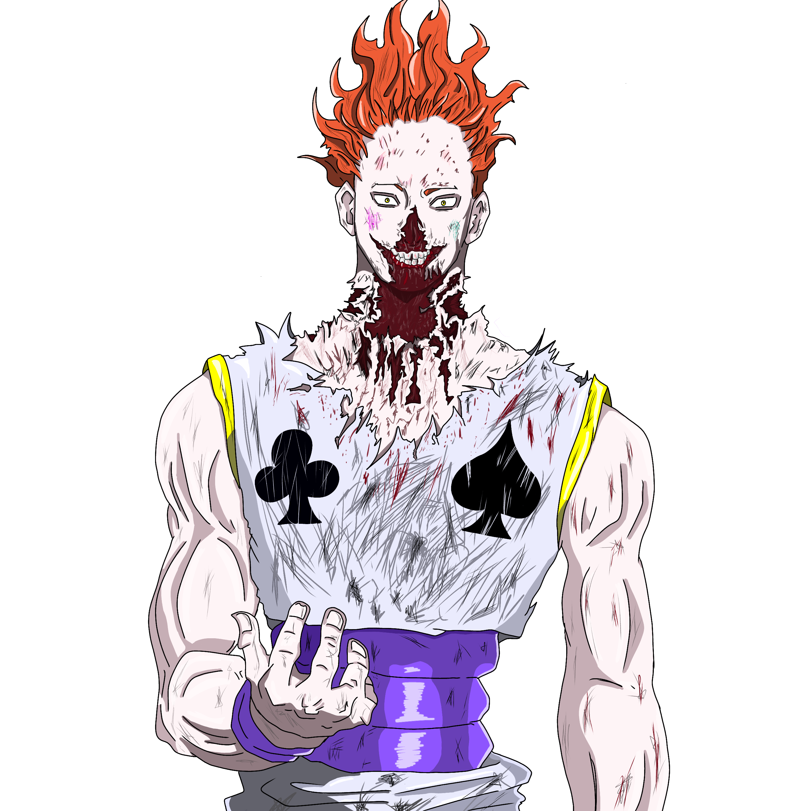 Hisoka drawing natsu. Morou after fight with
