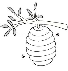 Hive clipart outline. Cartoon bee and beehive