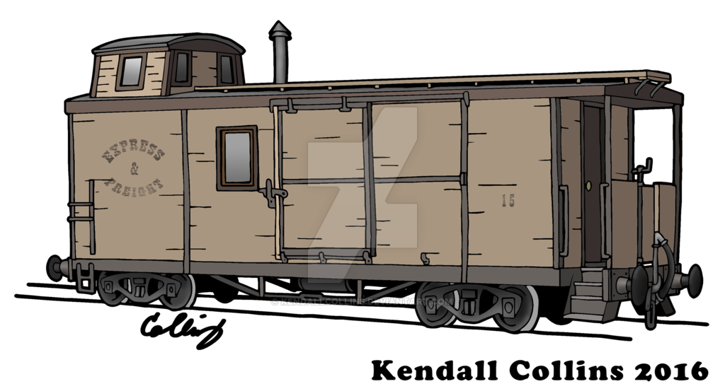 Hobo drawing boxcar train. Steampunk caboose concept by