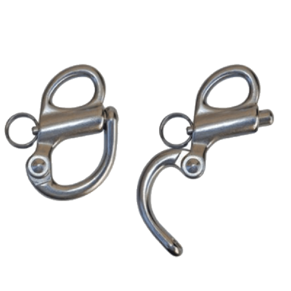 Hog clip stainless steel. Fixed bail snap