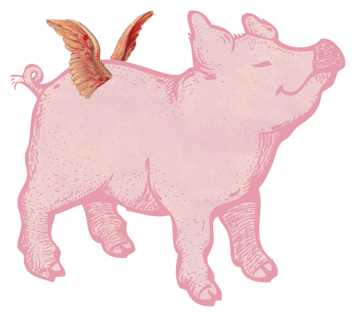 Hog clipart pink thing. Merry bright christmas pigs