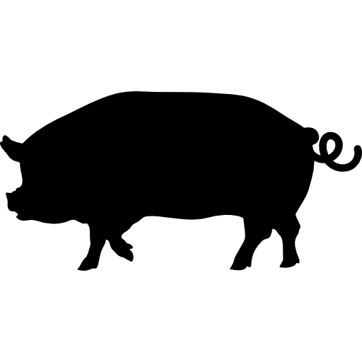 Hog vector pig profile. Side view silhouette icons