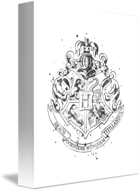 Hogwarts crest black and white png. By monn print