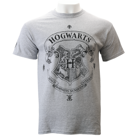 Hogwarts crest black and white png. Grey t shirt