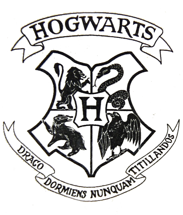 Hogwarts crest black and white png. Transparent file from a