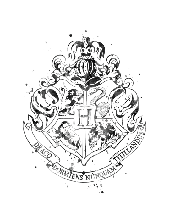 Hogwarts crest black and white png. T shirt for sale