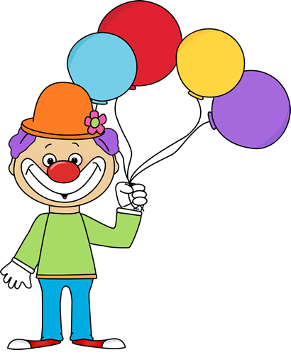 Holding clipart balloon. Clown with balloons