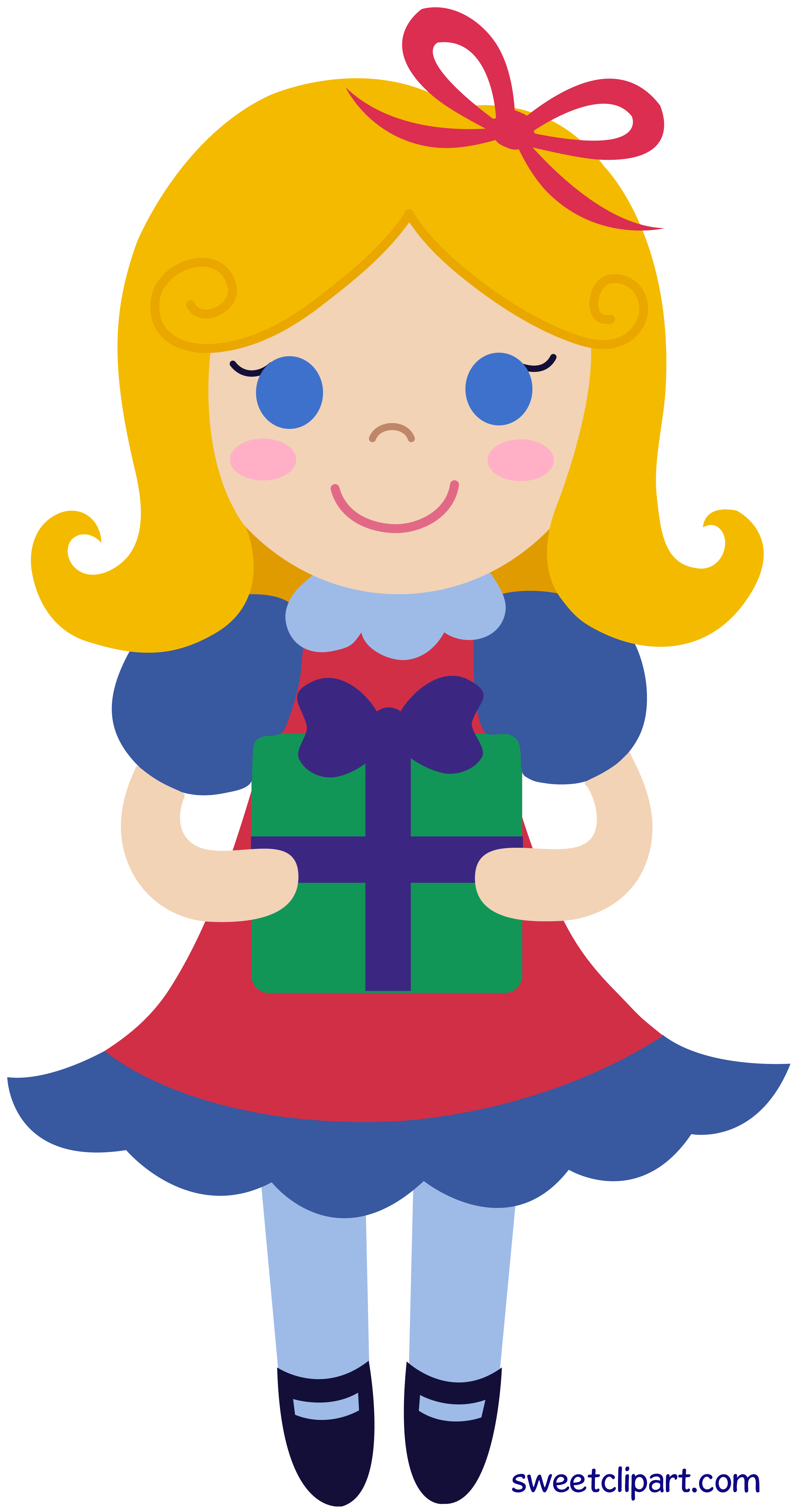 Cane clipart old geezer. Christmas girl holding gift