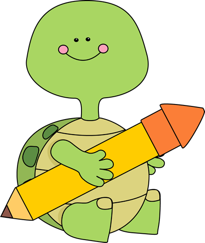 Turtle holding a pencil. Turtles clipart clip art