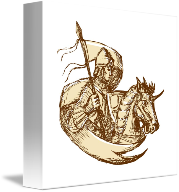 Drawing knight horse. On holding flag by