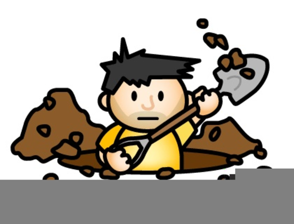 Hole clipart dig hole. Man digging a free