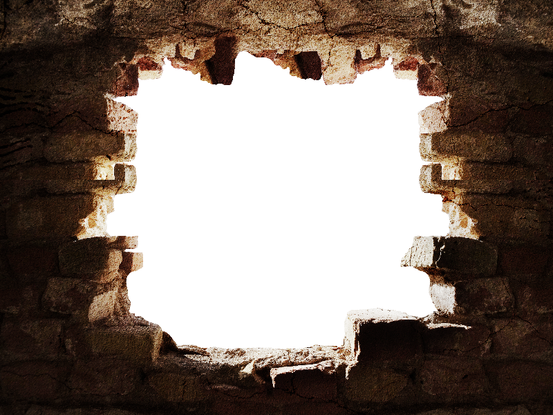 Hole in a wall png. Broken stone with background