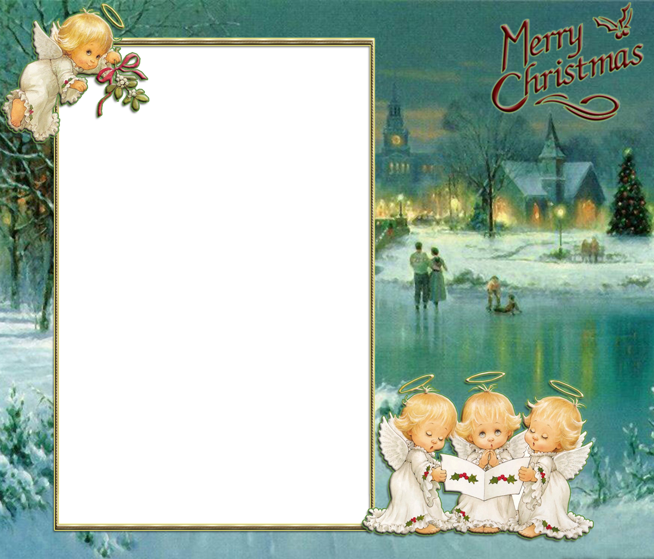Holiday angels png. Transparent christmas retro photo
