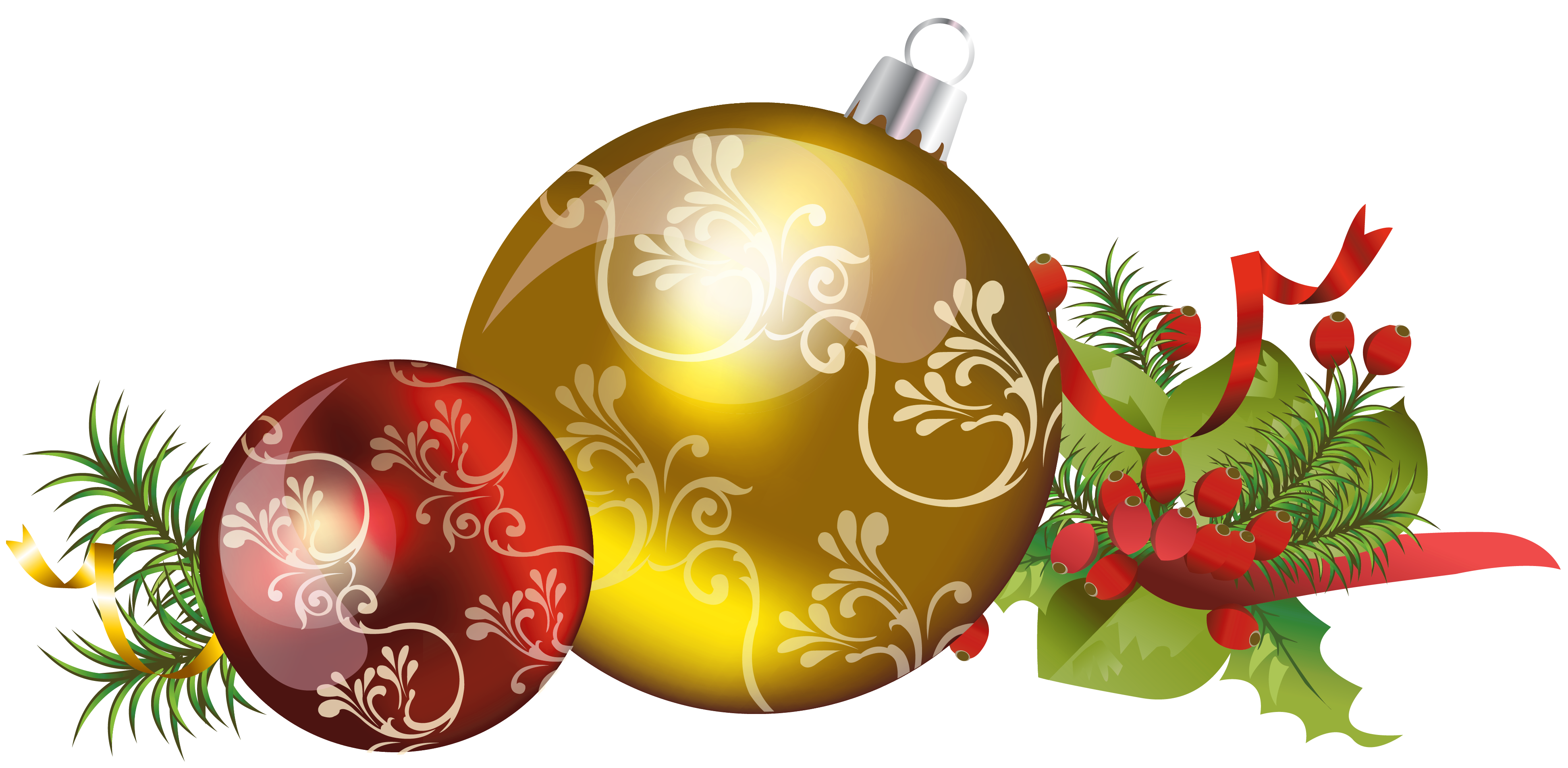 yellow christmas ornaments png