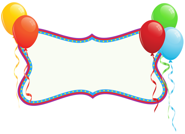Holiday banner png. Birthday with balloons clipart