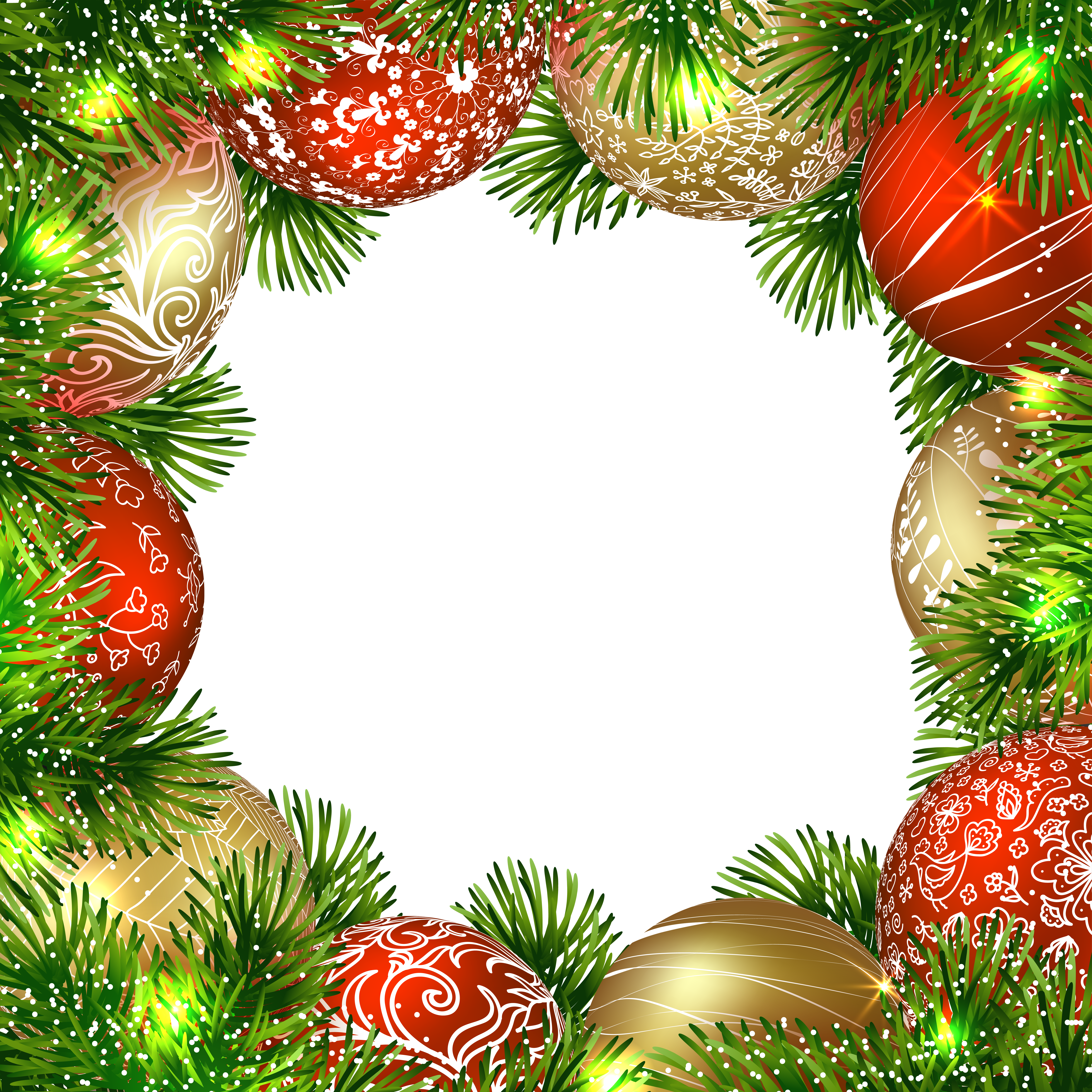 Holiday border ornaments png. Transparent christmas frame with