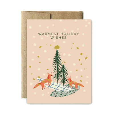 Holiday card png. Fox holidays ferme papier