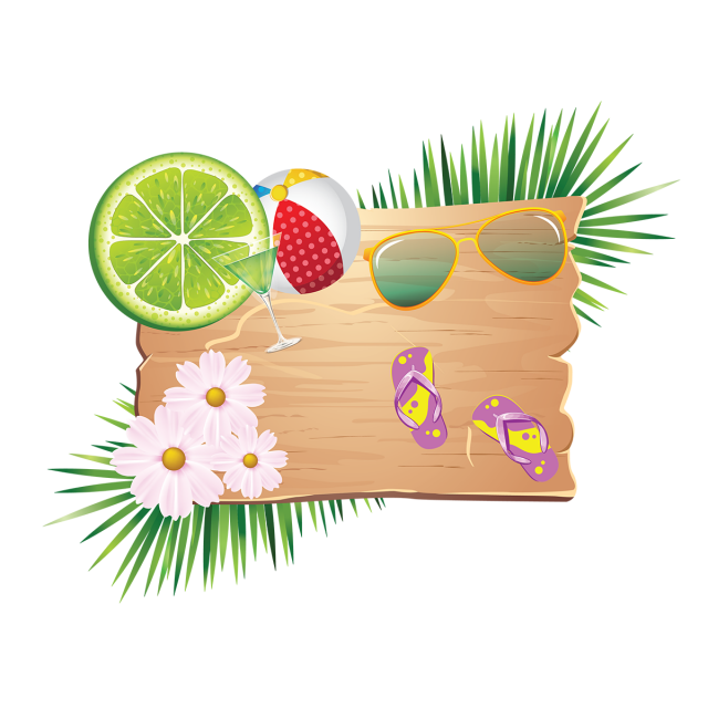 Holiday elements png. Summer on wood with