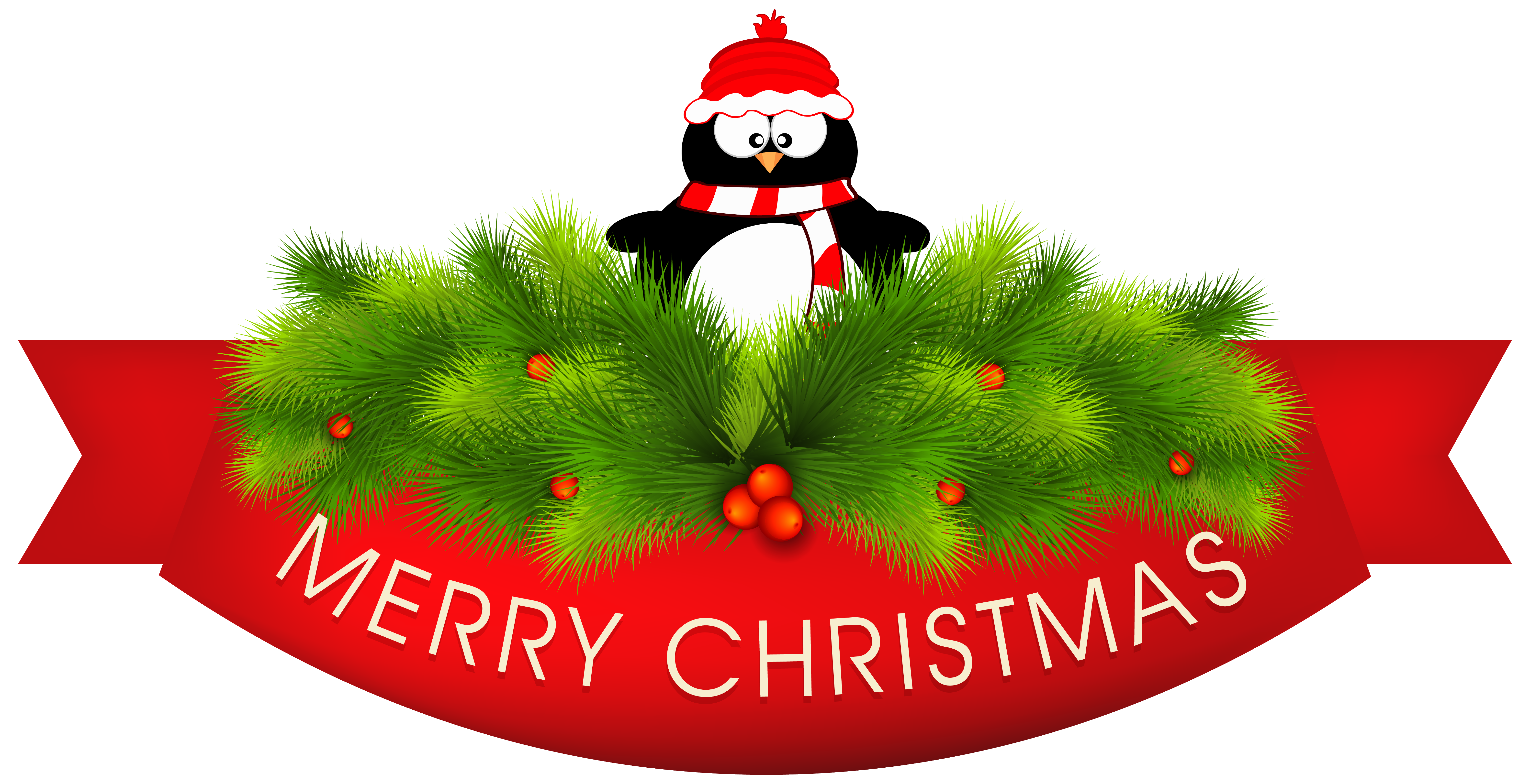 Holiday penguin png. Merry christmas decor with