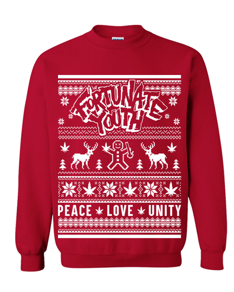 Holiday sweater png. Peace love unity fortunate