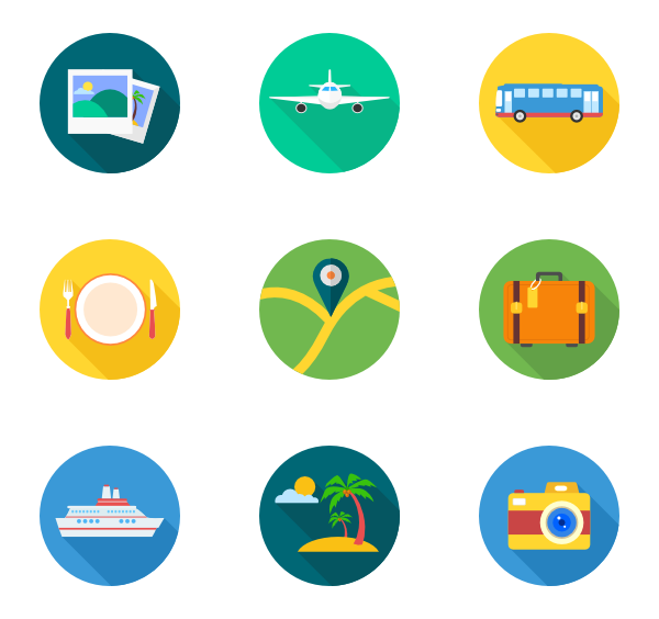 Powerpoint vector tourism. Travel holiday free icons