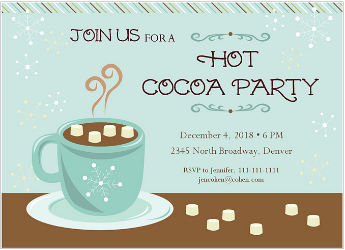 Holidays clipart hot cocoa. Children s christmas party