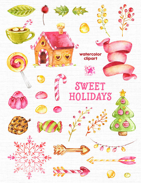 Holidays clipart sweet. Watercolor christmas candy winter