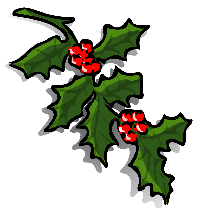 Transparent holly and ivy. Branch free clipart