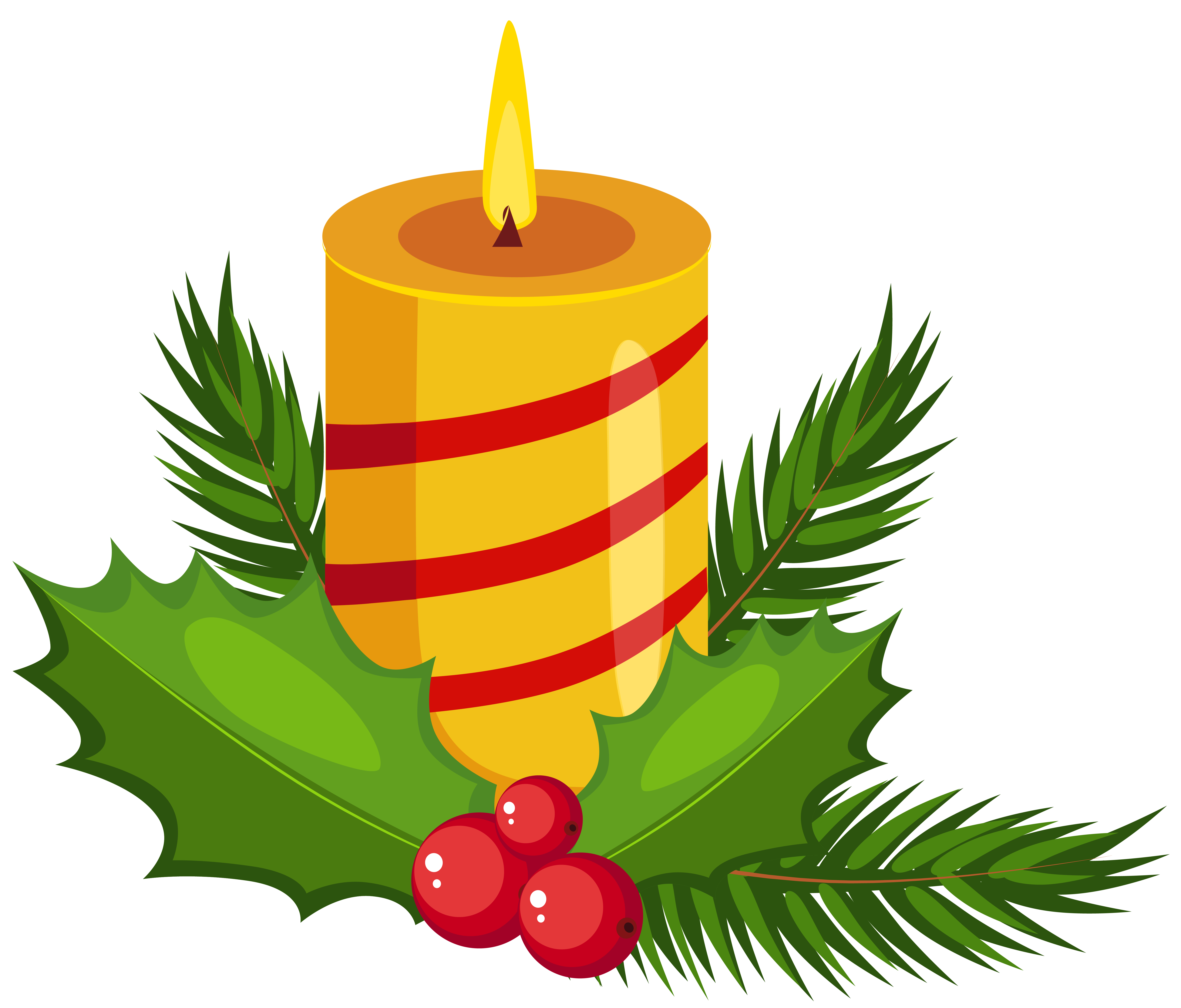 Holly clipart png. Christmas candle transparent clip