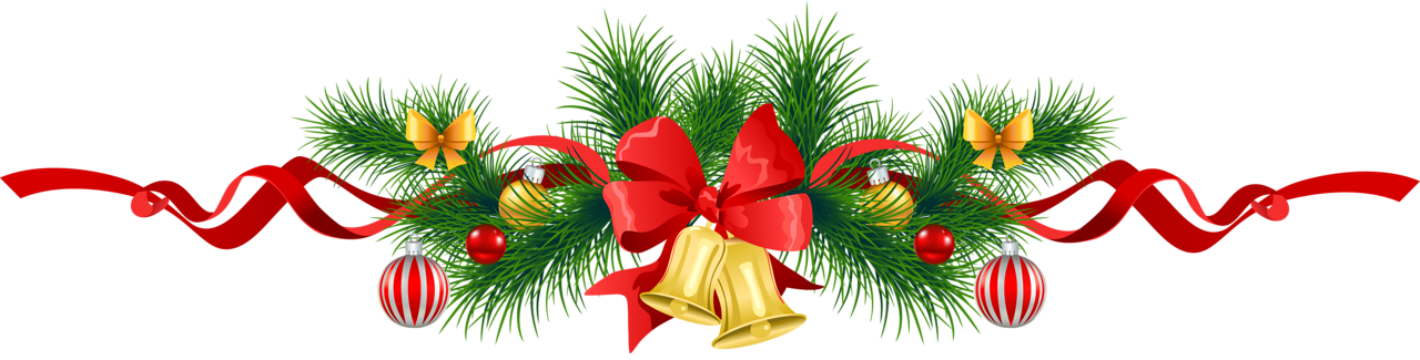 Christmas garland border transparent png. Pine with gold bells