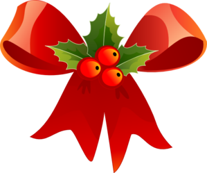 December clipart december 2016. Christmas bow with holly