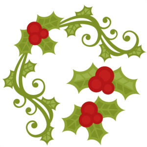 Holly clipart svg. Christmas set miss kate