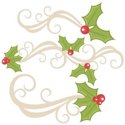 Flourishes scrapbook title christmas. Holly clipart svg image free
