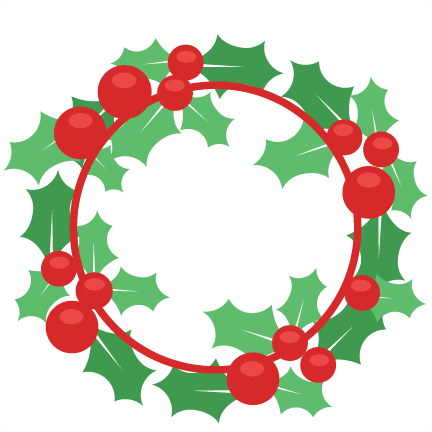 Holly clipart svg. Christmas wreath scrapbook cut