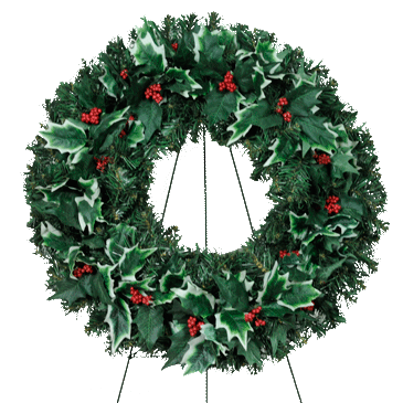 Transparent holly decoration. Christmas wreath new cathedral