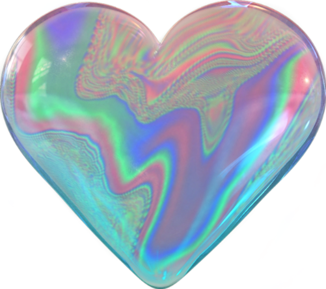 Holographic heart png. Soapbubble silver floral love