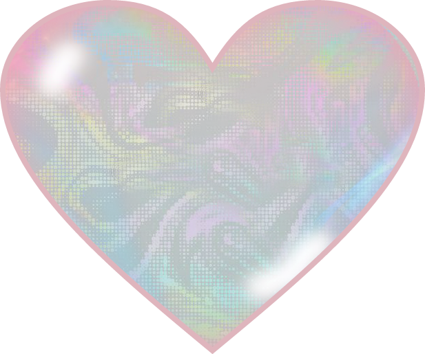Holographic heart png. Pink glass pearl irridescent