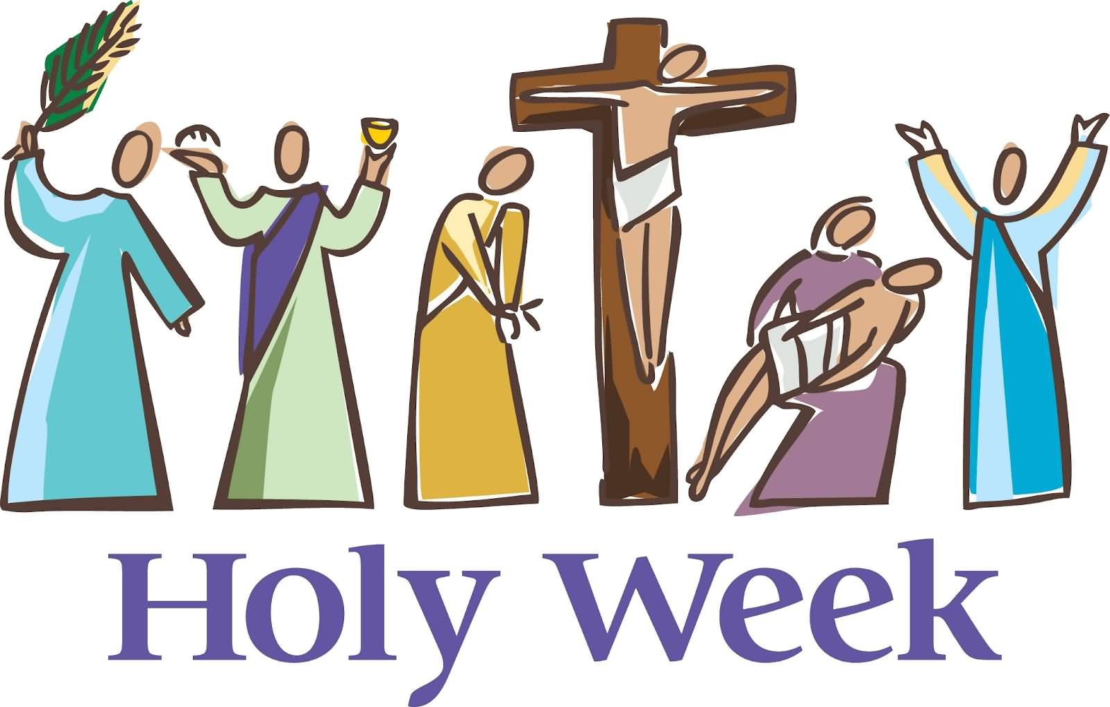 Holy week clipart colour. Most adorable greeting
