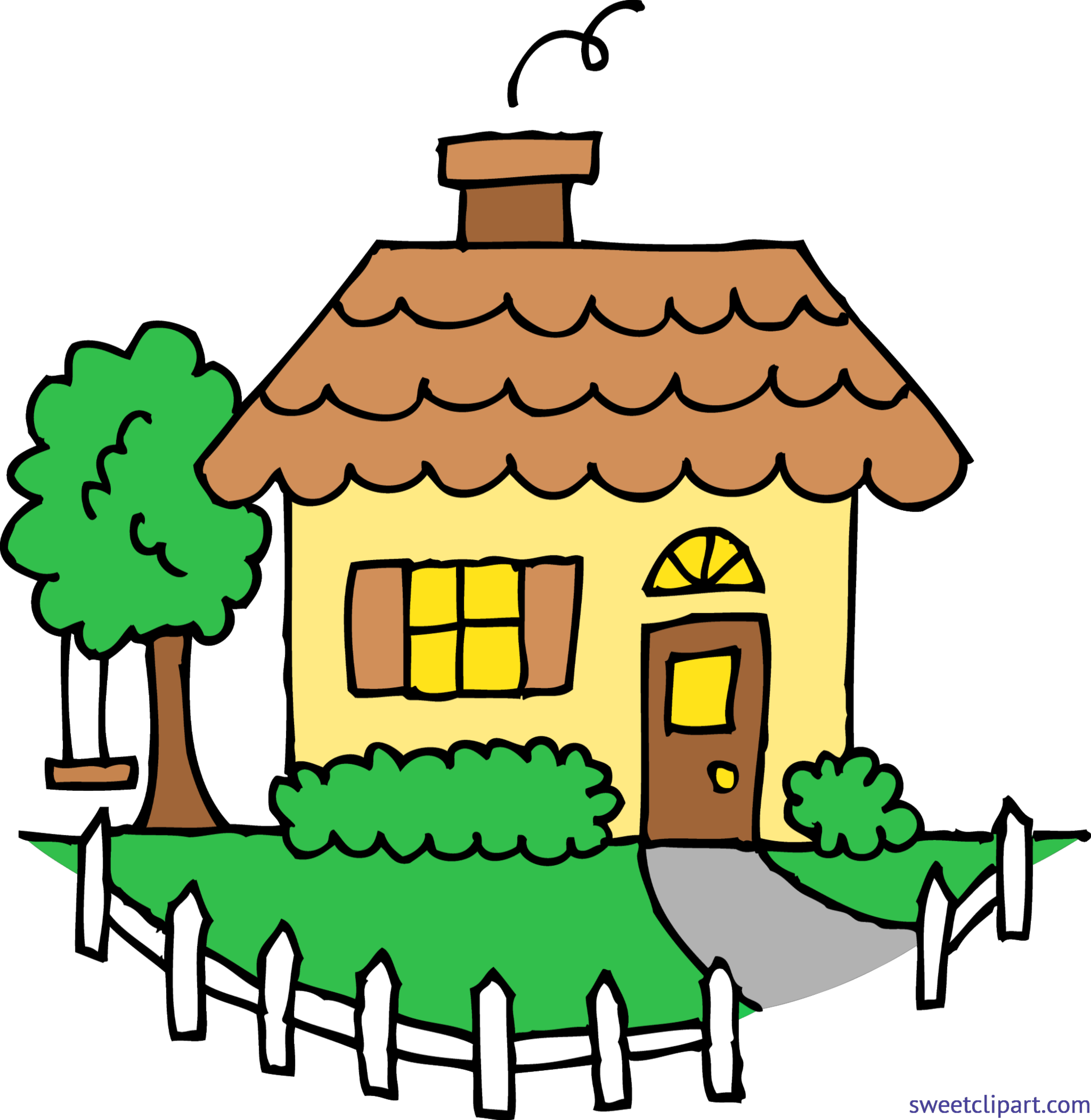 Yellow house clip art. Outside clipart cute picture transparent library