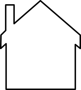 Blank drawing house. Silhouette clip art at