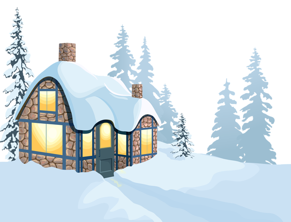 Home clipart winter. House and snow png