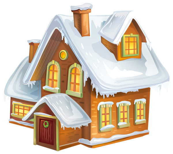 Christmas house transparent png. Cottage clipart winter image freeuse