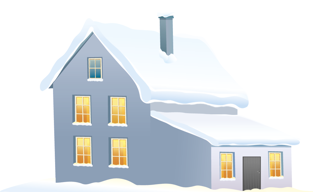 Blue house png image. Cottage clipart winter banner library download