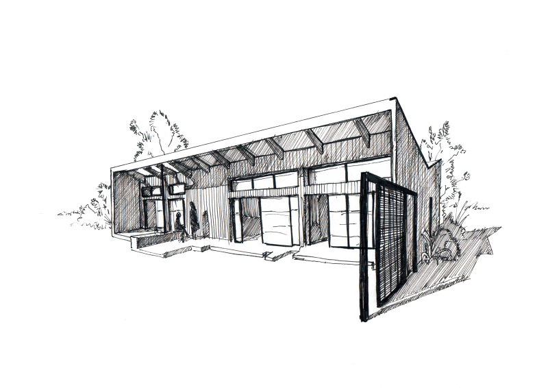 Shack drawing sketch. Star home the