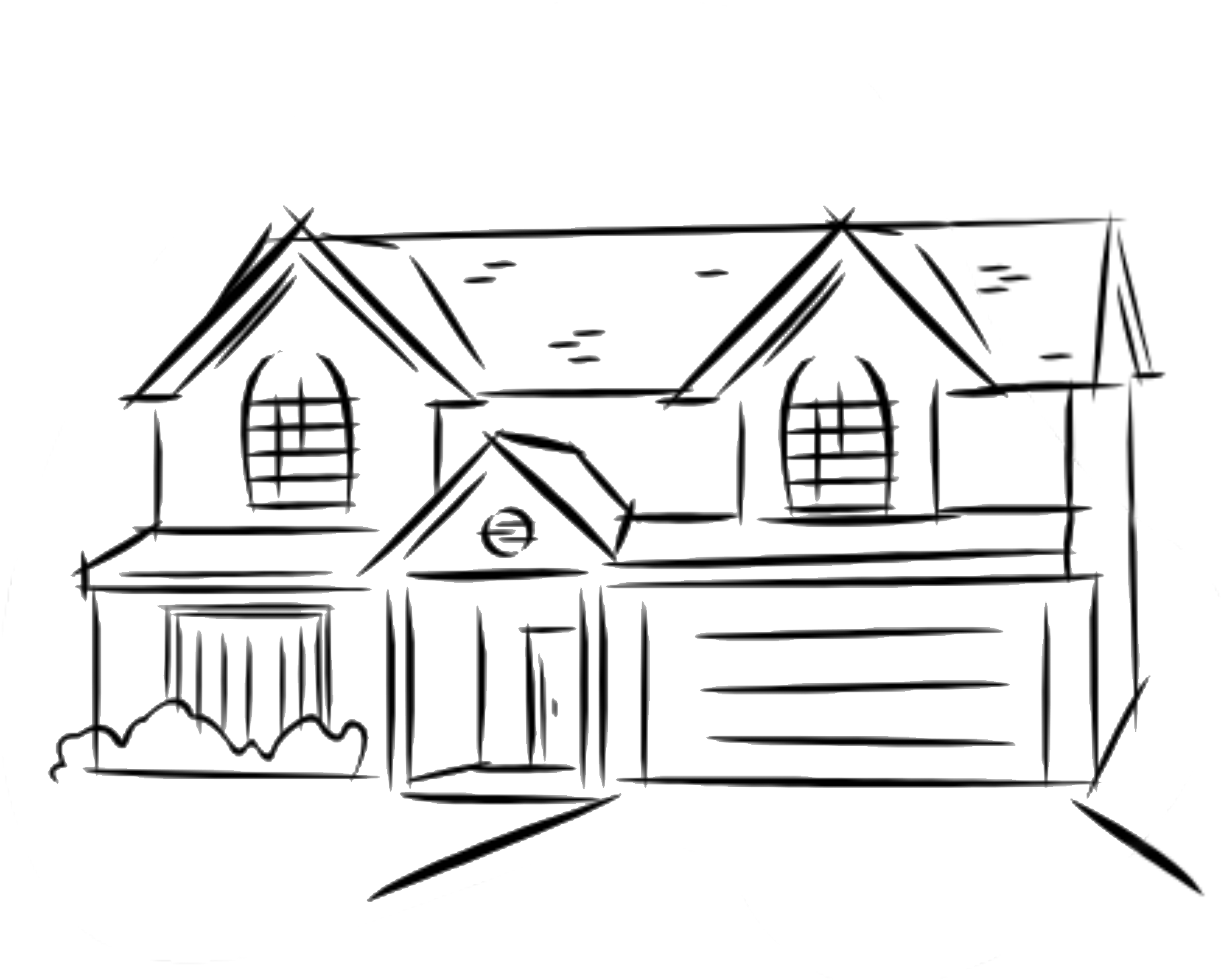 Shack drawing easy. Line of a house vector royalty free library